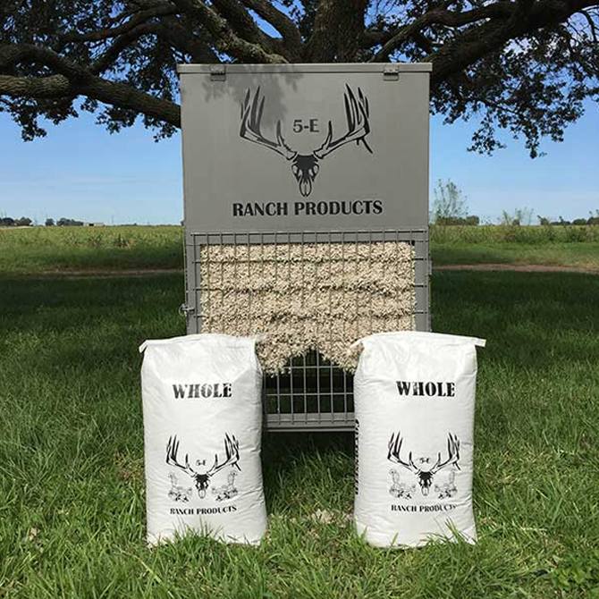 The 5-E Ranch Products, LLC patented cottonseed feeder pairs well with our easy-open cottonseed bags.